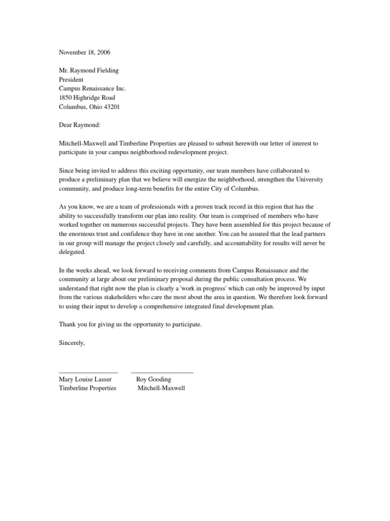 Letter of Interest To Participate in a Project – Letter of Interest