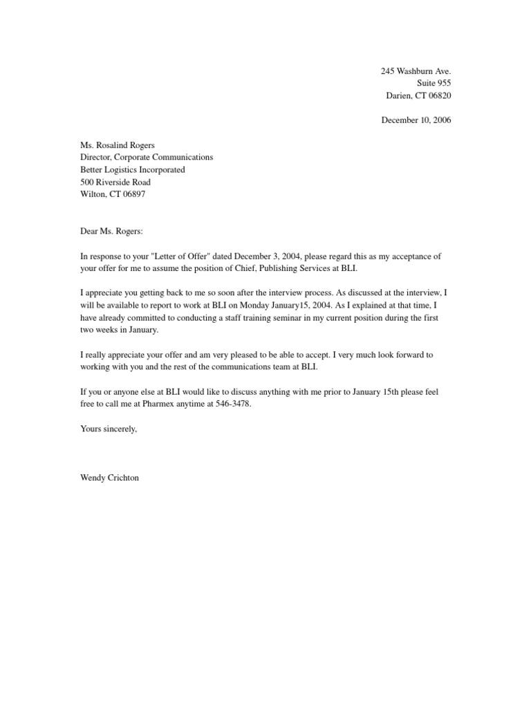 letter of acceptance of offer