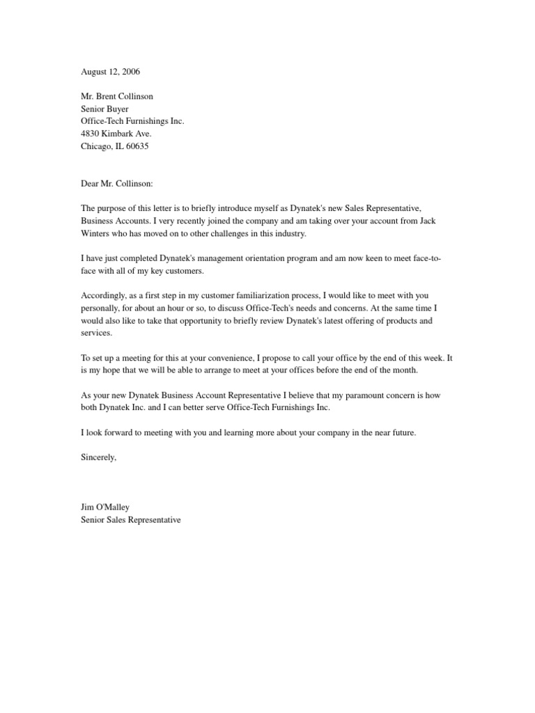 letter of introduction to client
