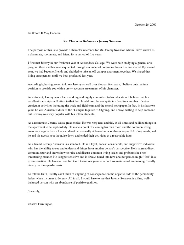 Character reference letter personal friend or colleague reference expocarfo