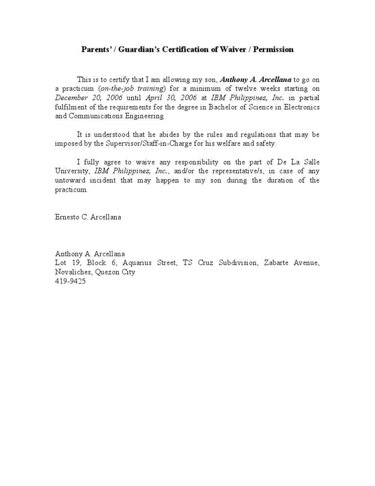 Parents Waiver OJT – Parents Consent Letter for Work