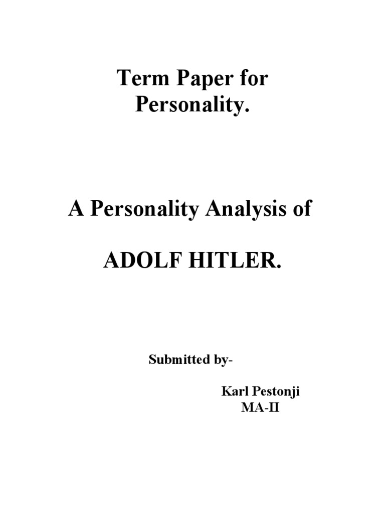 personality analysis paper