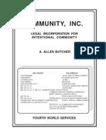 Community, Inc Legal Incorporation - Butcher