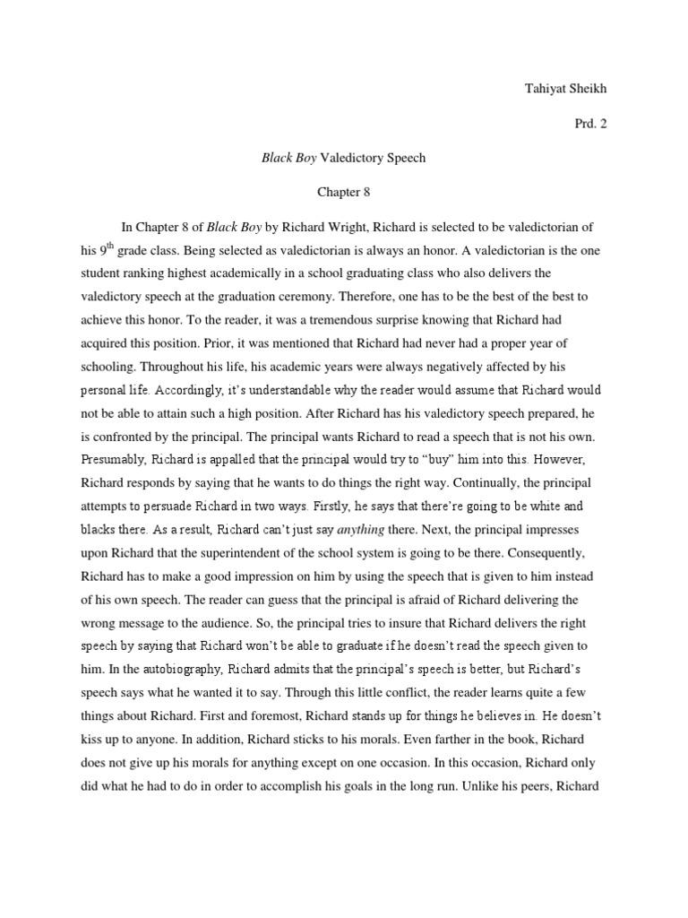 Black Boy Valedictory Speech Chapter 8 – Valedictorian Speech Examples