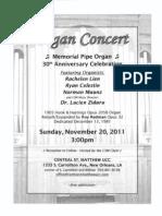 Organ Concert Flyer - 11-20-11