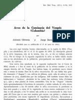 Olivares 1962. Aves de La Comisaria Del Vaupes