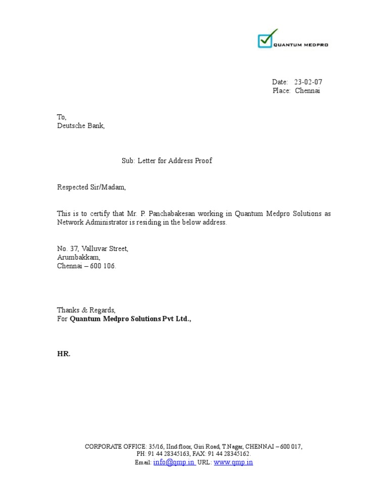 Residence proof letter format choice image letter format formal proof letter format new resume address format inspirational thecheapjerseys Gallery