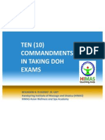 10 COMMANDMENTS IN TAKING THE DOH MASSAGE LICENSURE EXAMINATIONS (PHL)