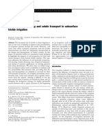 Anallysis of Soil and Solute Transport in Subsurface Trickle Irrigation