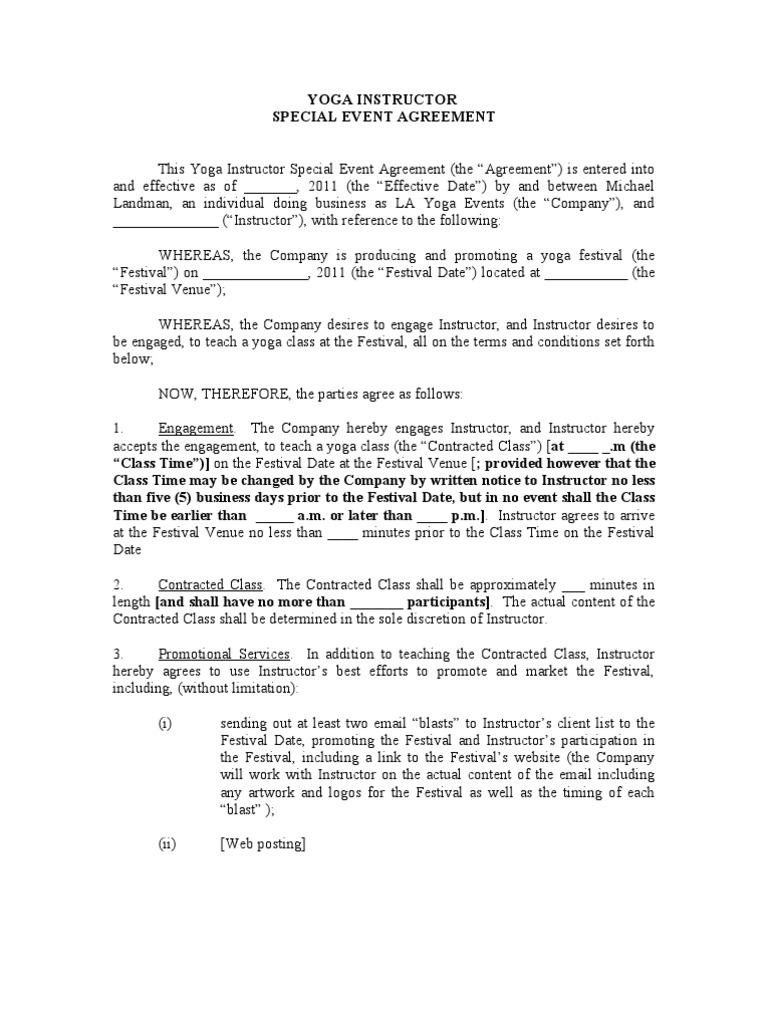 yoga instructor agreement arbitration