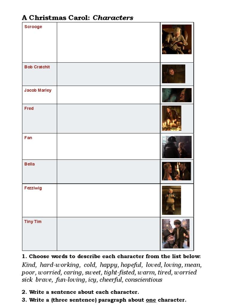 A Christmas Carol Characters.Christmas Carol Describe Characters Worksheet
