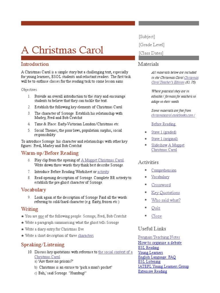 A Christmas Carol: Teaching Notes