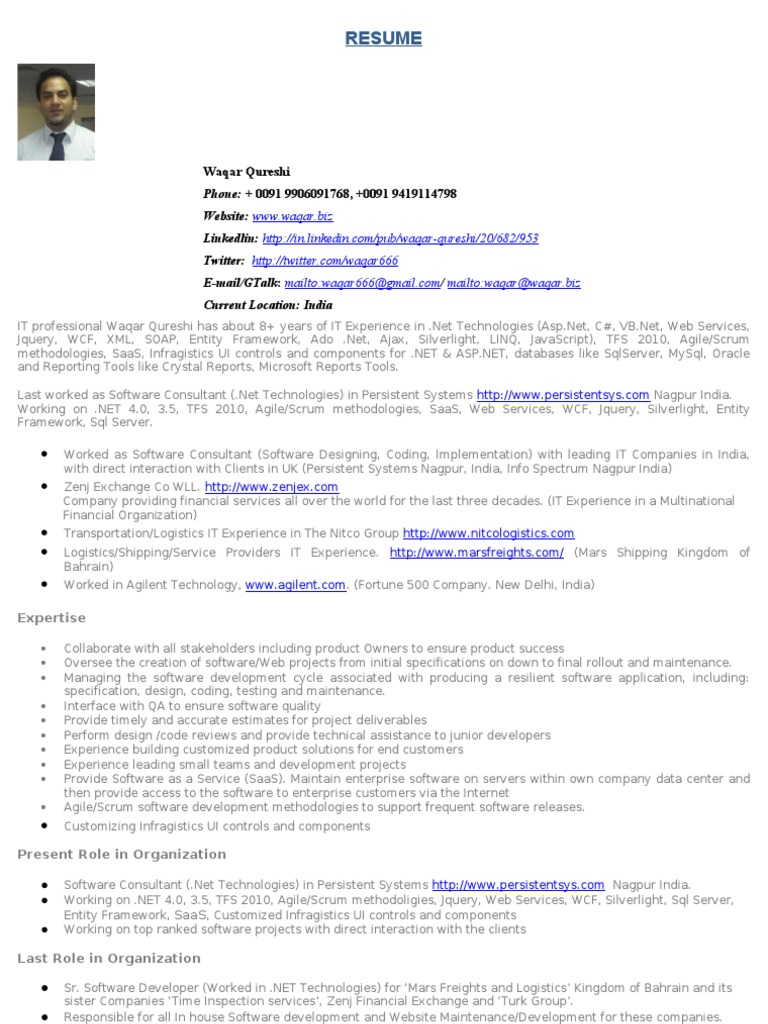 Software Engineer Resume Microsoft Sql Server Databases