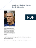 Turk Who Shot Pope John Paul II Seeks Polish Citizenship
