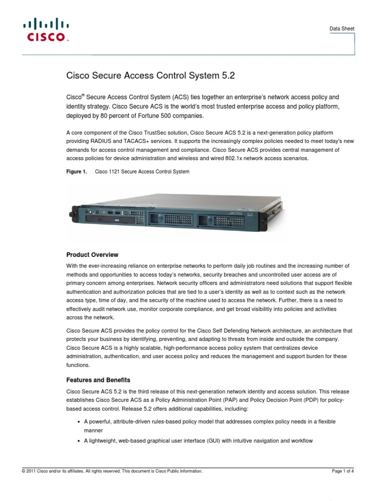 Cisco ACS Data Sheet | Cisco Systems | Access Control