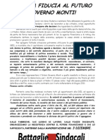Battaglie Sindacali su governo Monti e Crisi