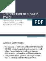 Ethics Presentation for SIFE