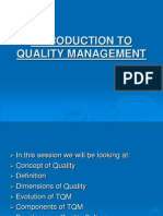 Sessions 1 & 2 - Introduction to Quality Management