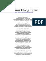 Puisi Ulang Tahun Paling Romantis