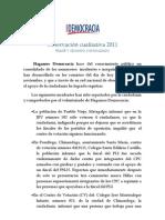 Observación cualitativa de Hagamos Democracia sobre proceso electoral  2011
