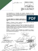 Proyecto de Ley 514/2011 LEY QUE DEROGA EL RÉGIMEN LABORAL CAS