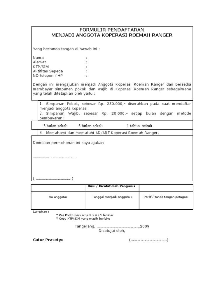 Formulir Pendaftaran Jadi Anggota Koperasi