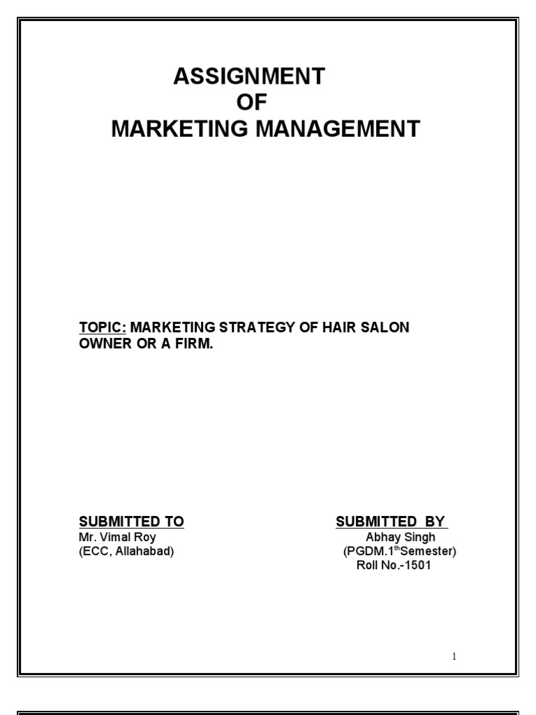 Assignment On Hair Salon Marketing Strategy Strategic Management