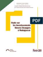 Etude sur les investissements étrangers à Madagascar - 2009 (INSTAT - 2010)