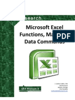 2010 Excel Functions Macros and Data Commands Manual as of March 2010
