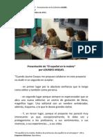 """presentación de """"El español en la maleta"""", texto de Lourdes Miquel"""