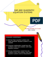 Linear and Quadratic Equation System