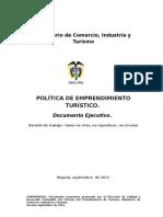 Documento borrador POLÍTICA DE EMPRENDIMIENTO TURISTICO