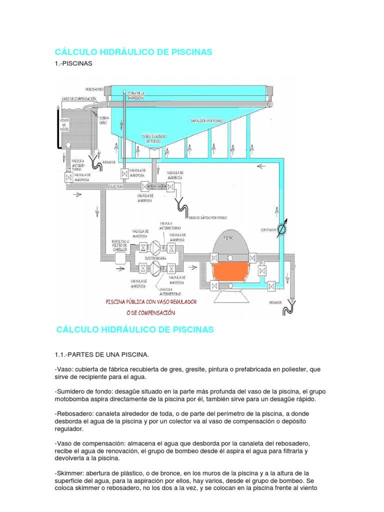 cÁlculo hidrÁulico de piscinas