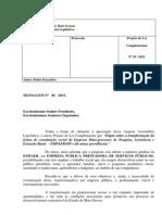 mensagem do governador Silval  Barbosa (PMDB) que propõe a transformação da Empaer em uma empresa pública.