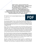 """Letter of Opposition to the """"Government Litigation Savings Act"""" (H.R. 1996) November 16, 2011"""