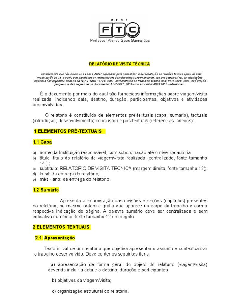 Modelo de relatorio de palestra
