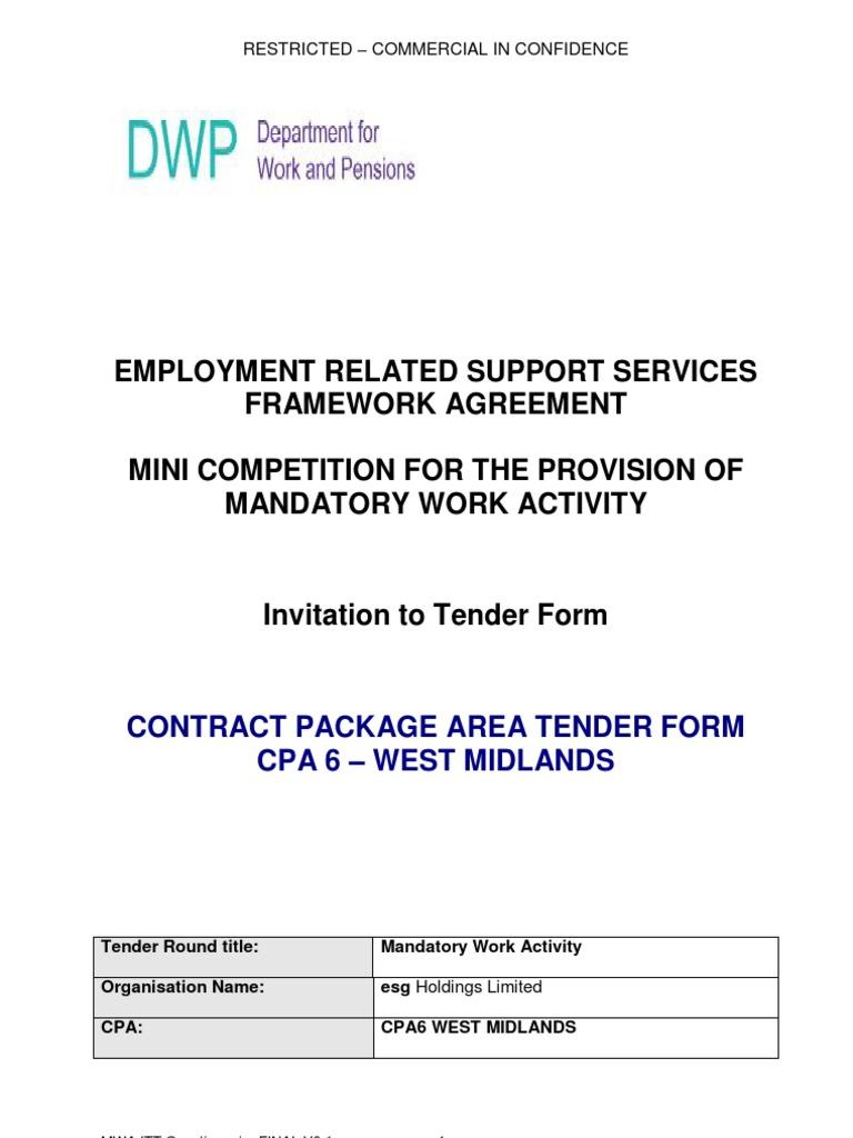 033  CPA6 ESG - Tender Form Redacted FINAL | Supply Chain