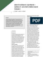Simulated Rockburst Experiment - Evaluation of Rock Bolt Reinforcement (a.T.haile 2001)