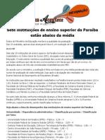 Sete instituições de ensino superior da Paraíba estão abaixo da média