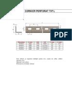 Cornier Perforat Tip L Dimensiuni