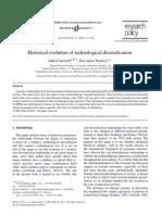 Historical evolution of technological diversification