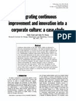 Integrating continuous improvement and innovation into a corporate culture