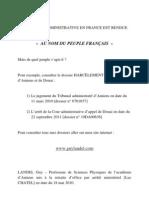 """En France la justice administrative est rendue """" AU NOM DU PEUPLE FRANCAIS """""""