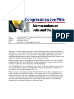 Jobs Memo from U.S. Rep. Joe Pitts