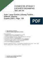 Lama Gueshe Lobsang Tsultrim, Instrucciones de Atisha y los Gueshes Kadampas