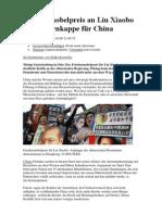 Friedensnobelpreis an Liu Xiaobo Keine Tarnkappe für China