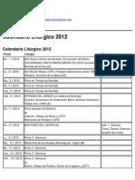 Church Forum - Calendario Litúrgico 2012 - 2010-01-09