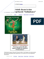 Le Cirque Du Soleil Fissate Le Date Romane Dello Spettacolo Saltimbanco