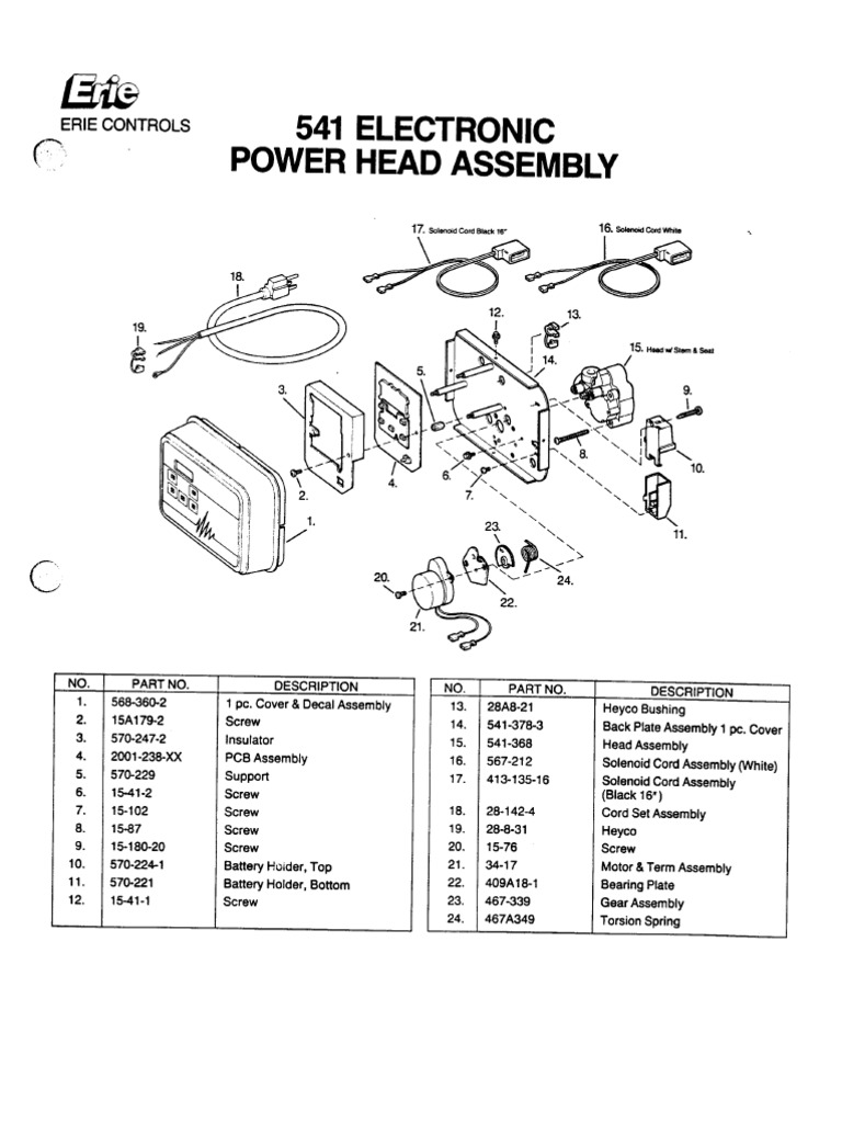 erie 541 electronic valves exploded parts diagram