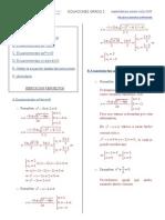 Ejercicios resueltos de ecuación cuadrática.